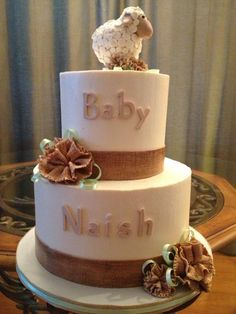 Burlap Baby Shower Cakes   Baby Lamb and Burlap
