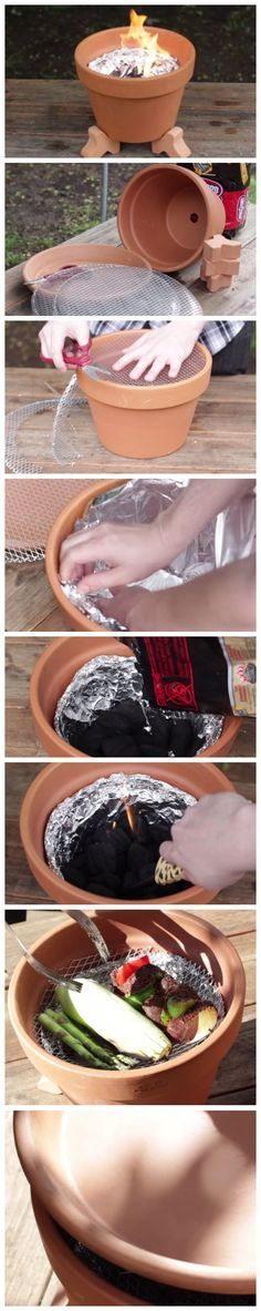 How To Make A Grill Out Of An Old Clay Pot
