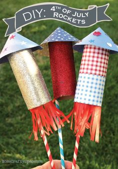 These fun and creative 4th of July Rockets are easy to make and great décor for your summer party!