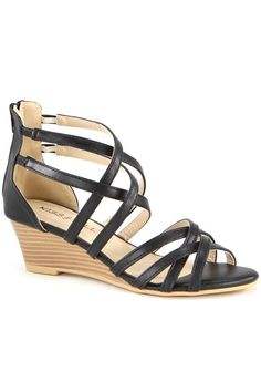 Add sophisticated style to your warm-weather ensemble with this strappy high-back wedge. Low Wedge Sandals, Low Wedges, Sophisticated Style, Girly Things, Footwear, My Style, Kiss, Shoes, Teacher Outfits
