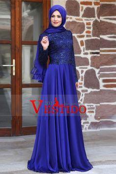 2.016 musulmanes vestidos de baile Scoop una línea de satén y encaje con el pañuelo oscuro azul real
