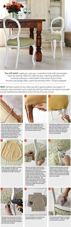 How to Upholster your chairs Step by Step
