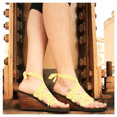 Vegan, handcrafted wedges with interchangeable ribbons. Match your shoes to any outfit!
