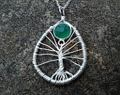 Sterling silver Tree of Life with Jade Faceted stone necklace