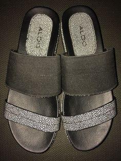 watch 8b0ea 6227b Aldo Women s Black White Slide Platform Sandals Lugged Sole Dots Sz 8.5   9  M