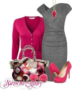 Hot pink and gray...love it!!! Another great fitted dress with an amazing neck line paired with a card