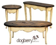 Dogberry's French Country Collection made from reclaimed wood.  Includes:  Sofa Table, End Table and Coffee Table  www.dogberrycollections.com