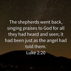 Luke The shepherds went back, singing praises to God for all they had heard and seen; Bible Verses Quotes Inspirational, Inspirational Prayers, Spiritual Quotes, Bible Quotes, Great Quotes, Good News Bible, Bible Love, Christian Sayings, Christian Life