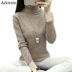 #fashionnow Aelorxin Women Turtleneck Winter Sweater Women 2017 Long Sleeve Knitted Women Sweaters And Pullovers Female Jumper Tricot Tops