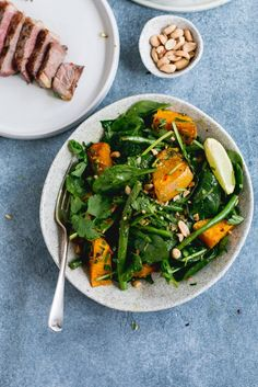 Thai Beef Salad with Caramelised Pumpkin & Green Beans | The Brick Kitchen