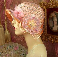 1920'S VINTAGE DOWNTON GATSBY LAVENDER & PEACH FLORAL OMBRE CLOCHE FLAPPER HAT