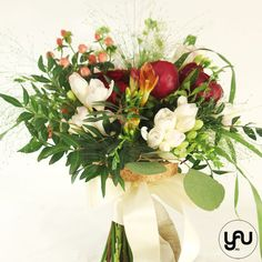 Bujori rosii si frezii Wedding Bouquets, Table Decorations, Design, Home Decor, Art, Art Background, Decoration Home, Wedding Brooch Bouquets, Room Decor