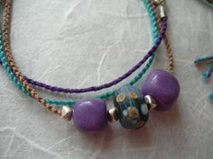 Rustic Sedona Lampwork Multi Strand Macrame Necklace Purple Amethyst and Silver Hand-Knotted Necklace