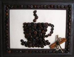 Burlap art work with coffee beans - Debbiedoo's