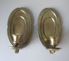 Vintage Brass Single Arm Candle Wall Sconce Pair Made in India Embossed Dot