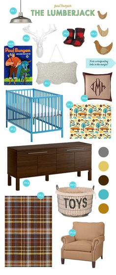 Outdoor-sy, Masculine nursery mood board from lay baby lay