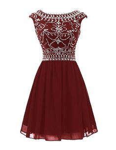Sisjuly Women's Short Beaded Chiffon Rhinestones Cap Sleeve Cocktail Dress Size 2 Burgundy