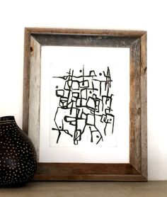 Modern and Contemporary Lines Original Block Print by Printwork #art #decor #design