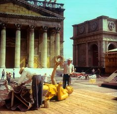 On the set of Cleopatra (1963), directed by Joseph L. Mankiewicz.