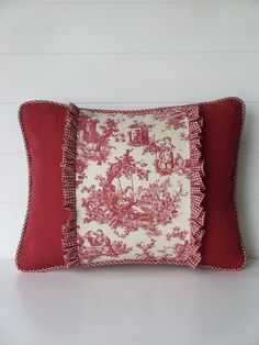 French Country Pillow Cover, Toile Cushion, Country French Red and White Toile Decorative Throw Pillow, Ruffles, Cording, Red Pillows
