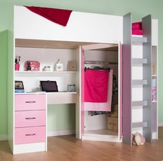 Calder High Sleeper Cabin Bed with Desk Wardrobe Drawers Shelving Many colours Cabin Bed With Wardrobe, Cabin Bed With Desk, Double Wardrobe, Room Ideas Bedroom, Small Room Bedroom, Bedroom Decor, Bedroom Loft, High Sleeper Cabin Bed, Childrens Cabin Beds