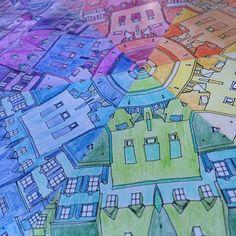 Colour wheel mandala completed   Book: Fantastic Cities by Steve McDonald
