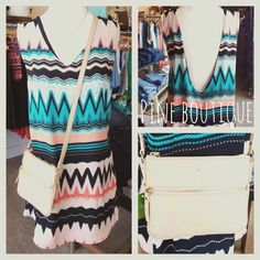 Coral, teal, & black patterned dress with an open back, S-L, $56.99! Paired with a small beaded necklace, $24.99 & Kate Spade crossbody, $178.99!