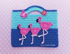 CROCHET BAG PATTERN Dancing Flamingos  By por KerryJayneDesigns