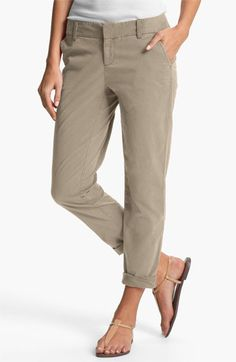 With long legs, you can take advantage of the rolled up pant with these chinos. Wear the light color with darker tops to balance the inverted triangle shape. Caslon® Chino Ankle Pants   Nordstrom