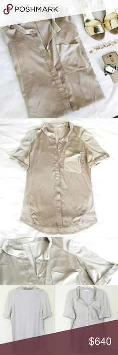 Satin stretch champagne gold button up Gorgeous knit-woven top // sample sale find // fits size 8 or size medium // fyi I'm not trying this on because it does not fit me // love this color! A pale champagne gold color goes great with both silver and gold accessories // so lightweight and adorable, great for any season // cuffed short sleeves Coldwater Creek Tops
