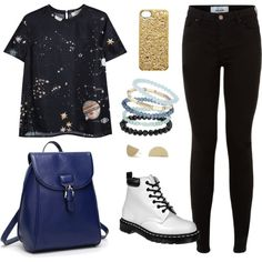 Space boots by deena16 on Polyvore featuring polyvore, fashion, style, Valentino, Dr. Martens, Annie Costello Brown, Topshop and Marc by Marc Jacobs