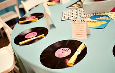 This theme could easily be utilised for a Rock n' Roll themed celebration, Birthday party, Bridal Shower or even Wedding Day Cake & Buffet… 1950s Theme Party, 50s Theme Parties, Fifties Party, Diner Party, Music Themed Parties, Retro Party, Music Party, Beatles Party, Grease Themed Parties