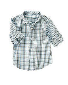 Plaid Shirt - Light Blue & Brown