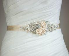 Champagne Bridal sash Wedding dress belt Narrow waist von LeFlowers, $158.00