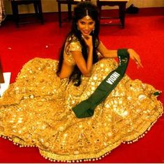 Actor, Model @NicoleFaria9 resplendent in a golden #Desi #Lehenga @ Miss Earth 2010 National Costume competition