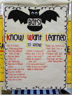 KWL chart - bats *** I would use this in my class before starting the unit on fractions, then revisit it after finishing the unit on fractions*** Kindergarten Science, Teaching Science, Teaching Tips, Teaching Reading, Teaching Grammar, Stellaluna, Classroom Activities, Classroom Ideas, Science Classroom