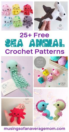 More than 25 Free Sea Animal Crochet Patterns including octopi, jellyfish, sharks, whales and more! Crochet Round, Free Crochet, Crochet Hats, Baby Play, Stuffed Animal Patterns, Animals And Pets, Crochet Projects, Free Printables, Crochet Necklace