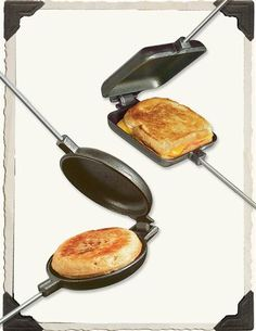 """PIE IRON--Convert your hearth into a campfire...experience a melted cheese panini or """"hobo pie"""" toasted to perfection with favorite ingredients crimped within the sealed edges."""