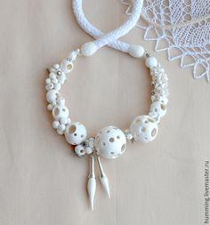 Купить Бусы из полимерной глины - белые бусы, белый цвет, бусы из полимерной глины