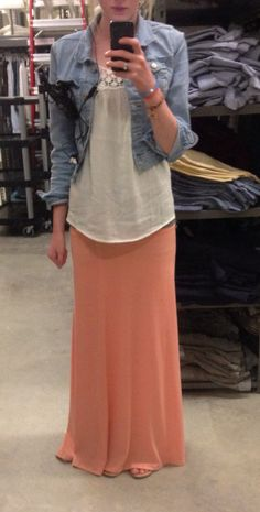 Jacket from Old Navy. Shirt from Burlington Coat Factory. Skirt from a small town boutique. Shoes from Old Navy.
