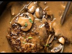 A juicy Salisbury Steak recipe with Mushroom Gravy Salisbury Steak Sauce. Easy to make with a restaurant trick for an extra tasty gravy! Salisbury Steak With Mushroom Gravy Recipe, Salisbury Steak Recipes, Steak And Mushrooms, Stuffed Mushrooms, Beef Dishes, Food Dishes, Main Dishes, Steaks, Meat Recipes