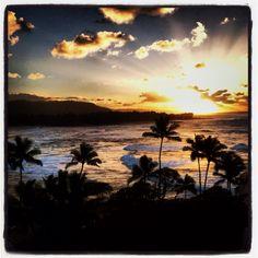 North shore, Oahu, Hawaii sunset
