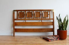 Mid Century Modern Headboard with Brass