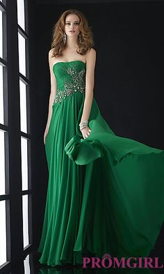 Full Length Strapless Formal Gown at  promgirl.com. marine ball gown ideas