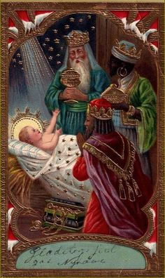 Three Wise Men and The King Christmas Nativity, Christmas Past, Christmas Pictures, Christmas Projects, Vintage Holy Cards, Images Vintage, Vintage Christmas Cards, Christmas Postcards, Catholic Art