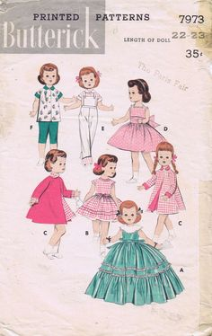 Doll Clothes Original  PATTERN 7973 for 22-23 Saucy Walker Bonny Braids by Ideal