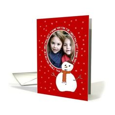 Thank You-For Christmas Gift-Snowman-Snow-Custom-Photo Card ($3.50) via Polyvore featuring home, home decor and stationery