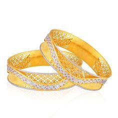 Gold Bangle - Buy Gold Bangle Designs for Women Online Gold Bangles For Women, Gold Bangles Design, Gold Jewellery Design, 1 Gram Gold Jewellery, White Gold Jewelry, Gold Diamond Earrings, Diamond Rings, Quartz Jewelry, Bangle Set