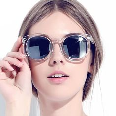 Item Type: Eyewear Eyewear Type: Sunglasses Department Name: Adult Brand Name: OEM Gender: Women Style: Round Lenses Optical Attribute: Mirror Frame Material: Plastic Frame Color: White Frame Color: B
