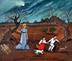 """Neda Contreras Ex-Votos.  """" Ay, mis hijos!""""  La Llorona, the weeping woman, is possibly the most famous ghost of Mexico. Parent would usually warn their children that bad behavior or that being outside after dark will result in La Llorona  trying to abduct them!"""